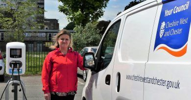 Cllr Karen Shore (Cabinet Member - Environment, Highways and Strategic Transport) at the charging facilities in Brook Street Car Park, Chester.
